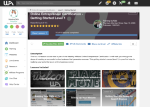 Wealthy Affiliate offers a step-by-step online entrepreneurship course you can start for free