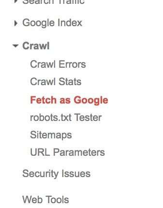 click the fetch as google tab on the side of your website