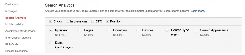 Google webmaster settings in order to find keywords to optimize